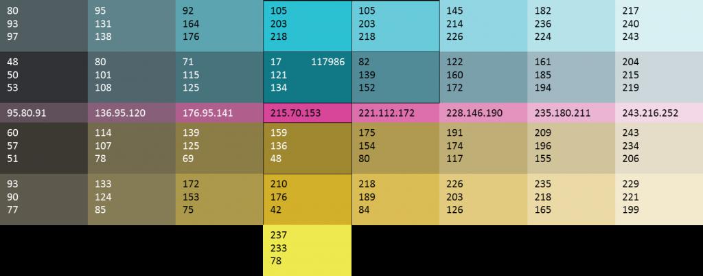 Color Pallet for website showing RGB values